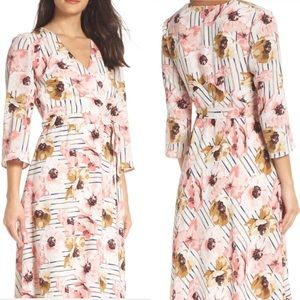 NWT Charles Henry Pink Floral Faux Wrap Dress